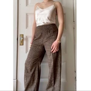 MaxMara Wool High Waisted Wide-leg Plaid Trouser